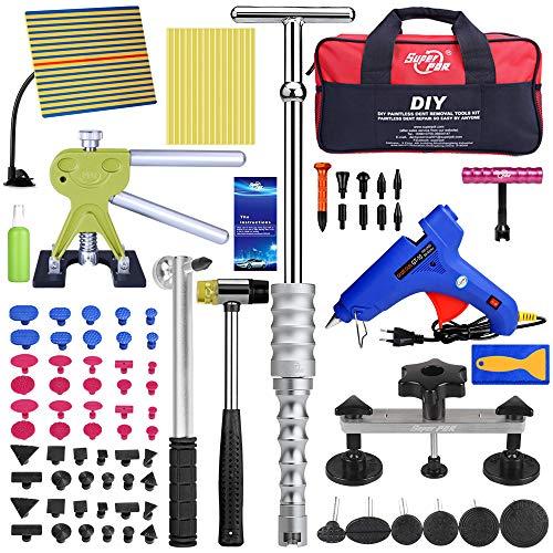 Uhomer Auto Paintless Dent Kit de reparación de abolladuras para coche con kit de extracción de bridge Dent para todo tipo de carrocerías con bolsa de almacenamiento