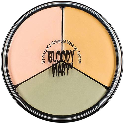 Bloody Mary Tri Color Wheel Monster Makeup Cream - Death Pale, Flesh and Vampire Gray for Theater, Costume or Halloween Zombie and Monster Dress Up - 1.3oz (Makeup That Goes With A White Dress)