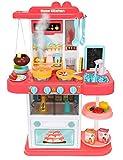 MALATEC Spielküche Kinderküche Zubehör Funktion Wasserhahn Kaltdampf 43 Elemente 9567, Farbe:Rosa