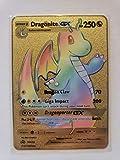 Dragonite GX SM156 Ultra Rare Black Rainbow Pokemon Promo Gold Custom Metal Card