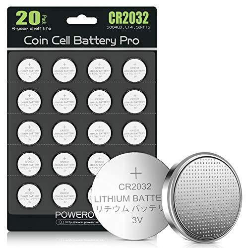 POWEROWL CR2032 Lot de 20 piles bouton au lithium 3 V (DL2032 / KCR2032 / BR2032 / ECR2032/)