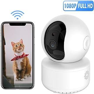 HANNILIFE 1080P IP Cámara WiFi Camara Vigilancia Interior con Visión Nocturna Detección de Movimiento Cámara de MascotaAudio de 2 Vías Monitor para Bebe/Perros Compatible con iOS Android