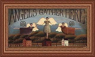 Buyartforless IF SAGE DH035 20x10 1.75 Woak Framed Angels Gather Here by David Harden 20X10 Folk Art Print Primitive Wide Natural Oak Frame