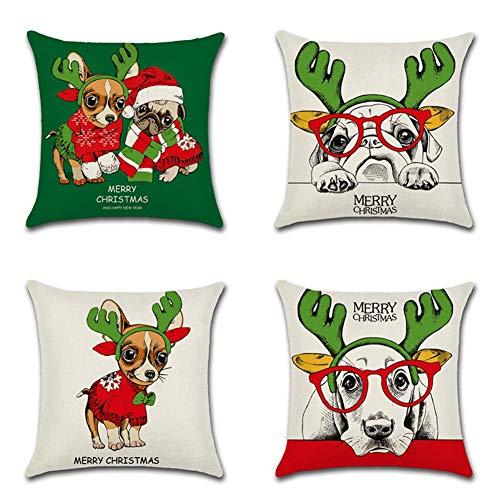 Artscope Funda de Cojín 45x45cm Navidad,Funda de Almohada para Cojín Cuadrado Algodón Lino para Sofá Cama Hogar Decorativo para Navidad Christmas,Set de 4 (Lindo Perro de Navidad)