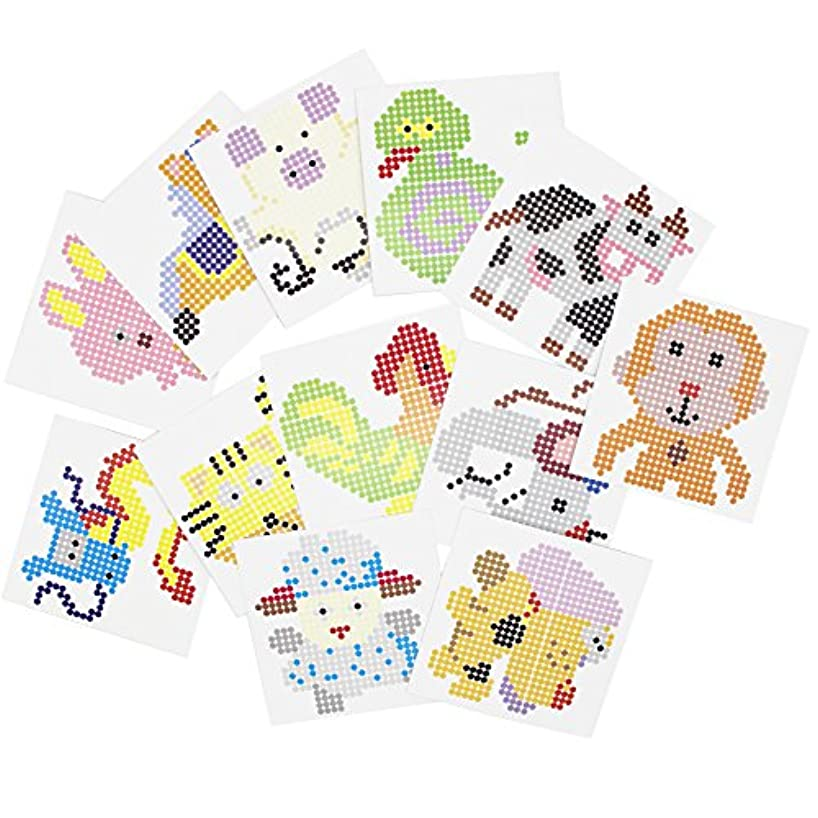 H&W 12 Pack 5mm Fuse Beads Background Cards, Cartoon Animal Cards, Chinese Zodiac (WA8-Z1)