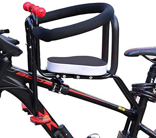 Saturey Seggiolino Bici per Bambini, seggiolino Bici Regolabile Bambino Anteriore con Schienale guardrail, Pedale, seggiolino Sella Bici per Bicicletta Pieghevole Cuscinetto MTB -50kg,Nero