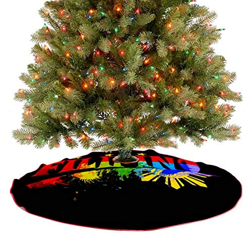 ZJHFSGMY Philippine Filipino Sun Star Dripping Christmas Tree Skirt, Soft Large Tree Mat for Xmas Party Decoration, Christmas Tree Holiday Ornaments Indoor Outdoor