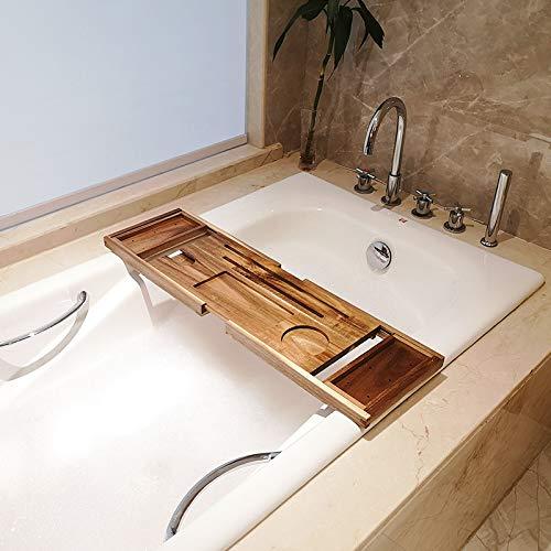DONG Caddie Holztablett für Badezimmer, ausziehbar, Badewanne, Caddie mit Tablet-Schlitzen, Tasse Kerze / Cup-Halter, Badezimmer-Organizer, Akazie