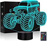 3D Optical Illusion Monster Truck Bedtime Night Light LED Lamp with 16 Colors Changing,Remote Control Dimmable Battery or USB Powered Touch Switch