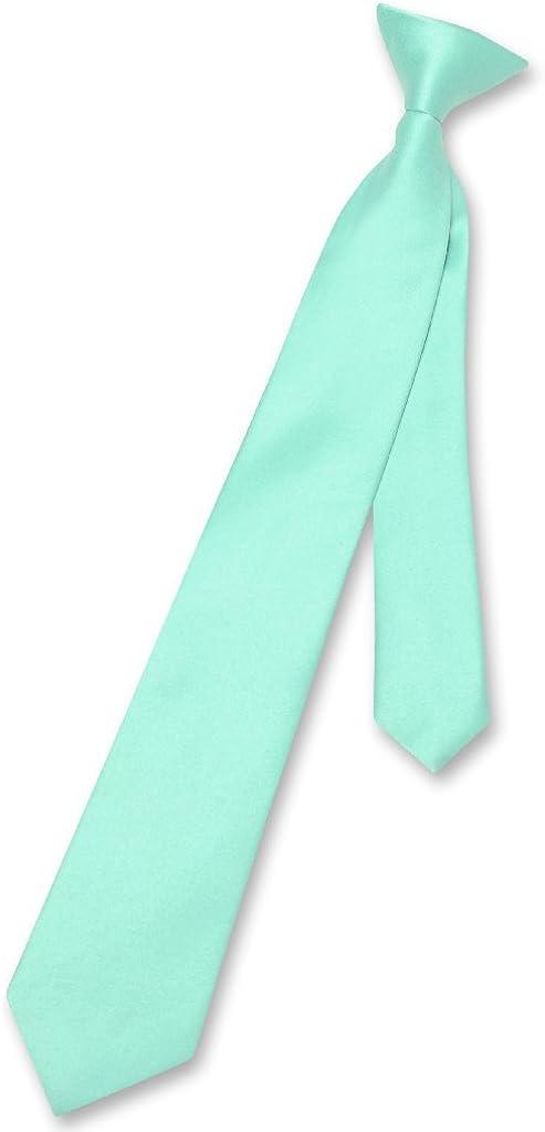 Vesuvio Napoli Boy's CLIP-ON NeckTie Solid AQUA GREEN Color Youth Neck Tie