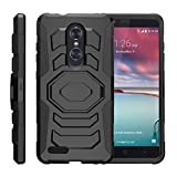 TurtleArmor | Compatible with ZTE ZMax Pro Case | ZTE Blade X Max Case [Octo Guard] Armor Rugged Solid Hybrid Kickstand Impact Holster Belt Clip Sports and Games - Black