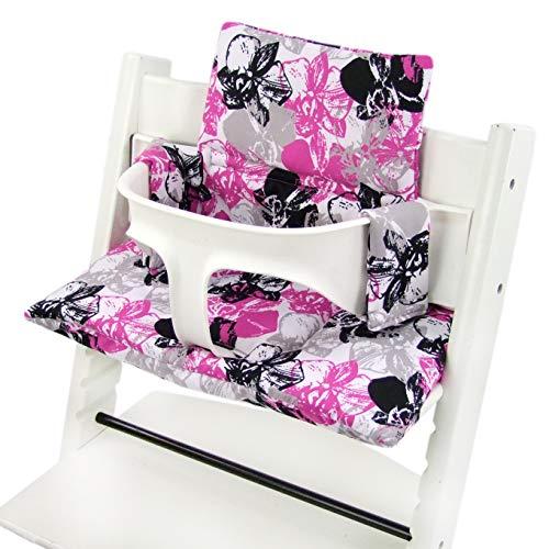 BAMBINIWERLT reserveovertrek, kussenset voor hoge stoel/kinderstoel Stokke Tripp Trap, zitverkleiner (DESIGN) wit roze zwarte bloemen