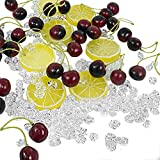 250 pcs Fake ice Cubes Crystal Cherries Lemon Slices Fruits Set 200pcs Acrylic Gems Clear Ice Rocks Fake Diamonds 40 Simulation Fake Cherries 10 Artificial Lemon Slice for Prop Vase Craft