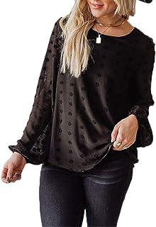 Womens Chiffon Blouse Swiss Dot Casual Round Neck Long Sleeve Pom Pom Shirts Back Keyhole Tops