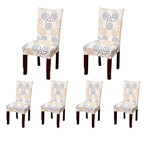SoulFeel 6 x Soft Spandex Fit Stretch Short Dining Room Chair Covers with Printed Pattern, Banquet Chair Seat Protector Slipcover for Home Party Hotel Wedding Ceremony (Style 7)