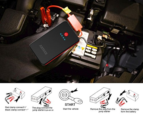 Arteck Car Jump Starter Auto Battery Booster and 8000mAh External Battery Charger Car Jumper for 12V Automotive…