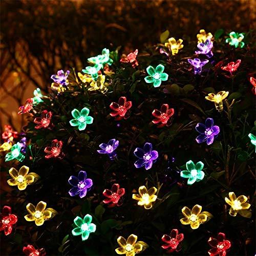 Waterdichte lichtketting op zonne-energie, voor buiten, perzikbloesem, 8 standen, waterdichte lichten met verbeterde batterij op zonnepaneel, decoratieve verlichting voor Kerstmis 4,9ft