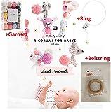 Ricorumi Häkelset Baby,Garnset Pastell in 20 Farben + Heft Little Animals +Metallring 30 cm + Beissring (Holz)