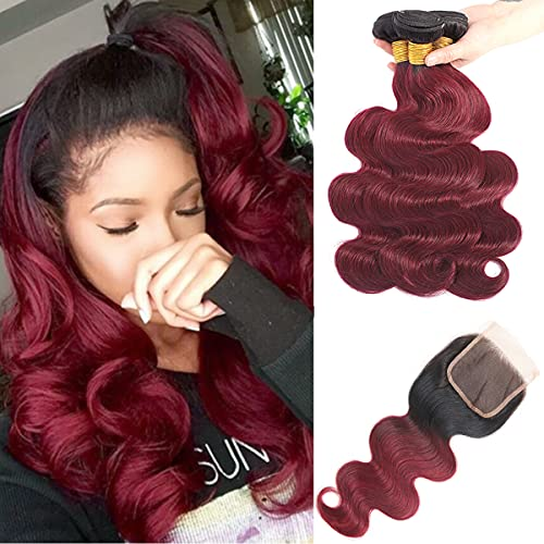 Feelgrace Hair Ombre Brazilian Hair Extension 3 Bundles Body Wave with Lace Closure 1B/99J Black to Burgundy Brazilian Body Weave Wine Red Brazilian Hair Bundles with Closure (10 12 14 with 10)