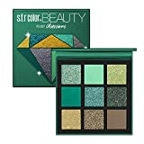 GL-Turelifes Pressed Eyeshadow Palette- Nine Eye Shades - Glitter and Matte Professional Eye Shadow Kit, Green Colors Series (#1 EMERALD)