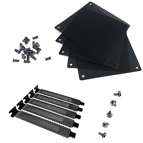 Nincha 12 mm Ordenador de PVC PC Refrigerador Paquete de filtro de ventilador de 5 + Negro Duro de acero Placa de obturación Placa de obturación PCI Ranura de la tapa 5 piezas con tornillos