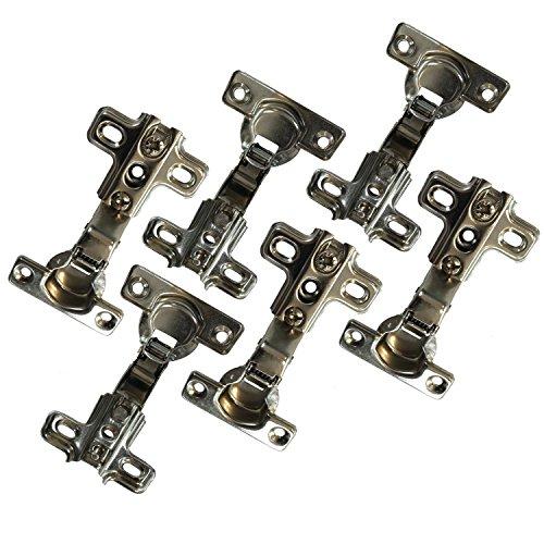 Dekati 6X Meubelscharnier Halv Overlay/half beschikbaar 98 graden voor het openen van kast klep deur; montageplaat voorgemonteerd; Afmeting: 85x50x22 cm