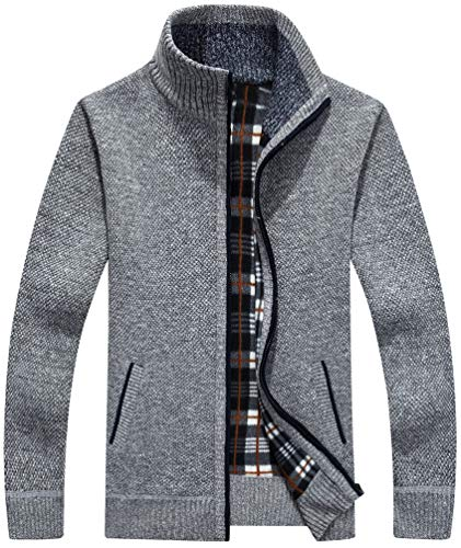 Vcansion Men's Casual Slim Full Zip Thick Knitted Cardigan Sweaters with Pockets Light Grey M