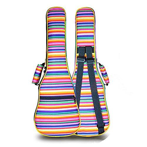 zealux® Bunte Verstellbarer Schultergurt 10mm Schwamm Fill Ukulele Fall Tasche & Ukulele Fall 23/24 in regenbogenfarben