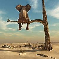 """木の上の面白い小さな象現代のキャンバス絵画壁アート動物の写真北欧のポスターと子供部屋の家の装飾のためのプリント90x90cm / 35.4""""x35.4""""フレームレス"""