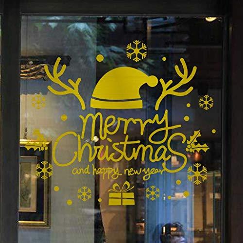 Merry Christmas Weihnachten Fensterbilder Dasongff Wandaufkleber Rentier Schneeflocke Buchstaben Wand Stickers Fenster Glas Vitrine Elegant Applique (F, 1 PC)