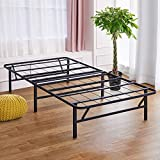 Olee Sleep 14 Inch Foldable Dura Metal Platform Bed Frame, Twin XL, Comfort Base Bed Frame, Height for Under-Bed Storage, Black