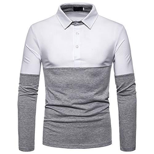 JHTT Men's Long Sleeve Polos Casual Tops Color Block Golf T-Shirt Poloshirts Mens Fashion Polo Shirts Rugby Tennis Golf T-Shirts Patchwork Long Sleeve Tops Jumper Pullover Sweatshirt