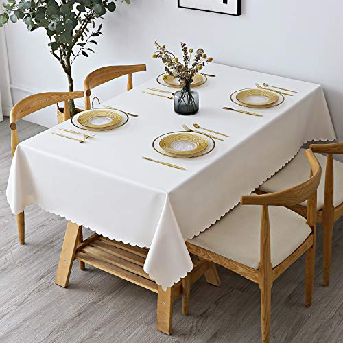 homing 60 x 84 Rectangle Tablecloth, Heavy Duty Washable Vinyl Table Cloth, Stain-Proof Wrinkle Free Table Cover for Indoor or Outdoor, White