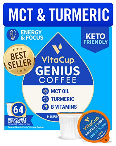 VitaCup Genius Coffee Pods 64ct w/ KETO MCT Oil, Turmeric, Cinnamon, & Vitamin for Energy and Focus in Recyclable Single Serve Pod Compatible with K-Cup Brewers Including Keurig 2.0