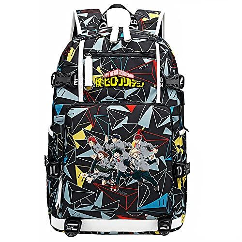 ZZGOO-LL My Hero Academia Deku/Todoroki Shoto/bakugou Katsuki USB Anime Mochilas Moda Viaje Mochila Informal Negocios Universidad Unisex-A