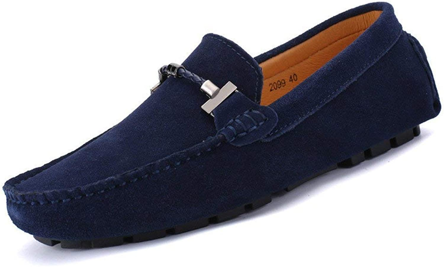 Hhgold Men's Moccasins shoes, Men Driving Low-Top Loafers Handmade Seam Suede Genuine Leather Penny Boot Moccasins up to size 47 EU (color  Navy, Size  44 EU) (color   As shown, Size   One size)