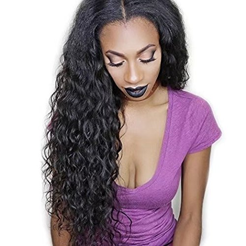 Curly Water Wave Weavy Wig Brazilian Perruque Cheveux Humain Full Lace Wigs Deep Kinky Curly Wave Sans Colle 150% Density Lace Wigs with Baby Hair (10 inch,1B)
