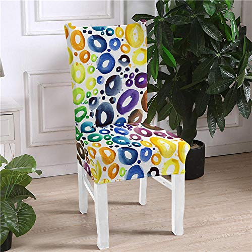 JRLTYU Fundas de sillas Galletas Blancas Azul Amarillo Violeta Fundas de Silla de Comedor Spandex Fundas Protectoras para Sillas Desmontable para Boda,Hogar,Restaurante Juego de 6 Piezas
