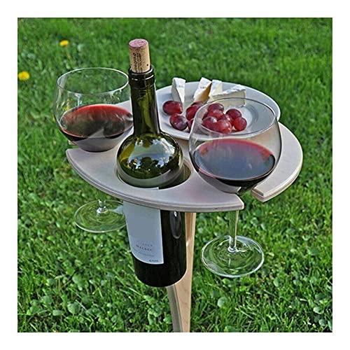 Piezas y accesorios de hornos Mesa de vino al aire libre con mesa redonda plegable Mini mesa de picnic de madera Fácil de transportar Mesas al aire libre Mobiliario Elemento de horneado de la estufa d