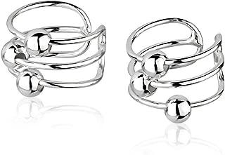 925 Sterling Silver Bar Bands w/Ball Beads No Pierce Ear Cuff Wrap Earrings, Set of Two (2) 6x10mm