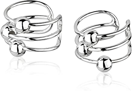 925 Sterling Silver Bar Bands w/Ball Beads No Pierce Ear Cuff Wrap Earrings, Set of Two (2) 6x10mm
