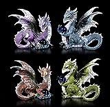 Colorido Fantasy Figuras Dragón con Bola de Cristal - Set de 4   Fantástico Kreatur y Gótico Figura Decorativa, Pintado a Mano, H, 18-20 CM