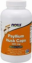 NOW Supplements, Psyllium Husk Caps 500 mg, Non-GMO Project Verified, Natural Soluble Fiber, Intestinal Health*, 500 Veg Capsules