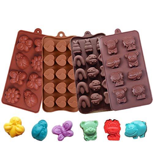 KeepingcooX Stampo in silicone per caramelle dolci al cioccolato, tema foresta animale leone orso ippopotamo, insetti farfalla ape coccinella, fiore e cuore spezzato, divertimento per bambini