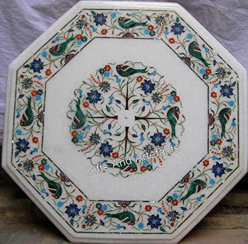 Mesa auxiliar de mármol blanco con patrón de pájaros de Heritage Art de 15 pulgadas