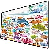Tappetino per mouse da gioco [600x300 x 3 mm],Animali tropicali, collezione di animali marini da immersione con oggetti marini coralli di balena s Base antiscivolo 45x45cm