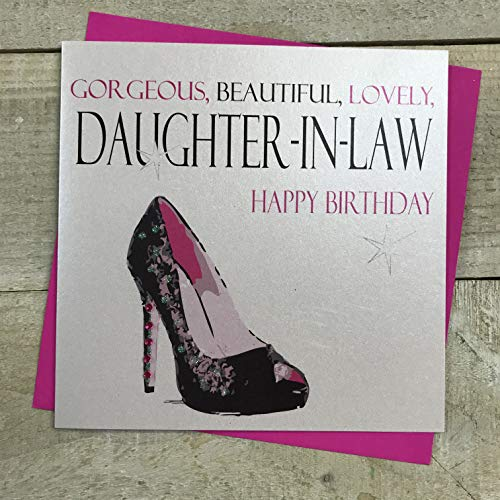 witte katoenen kaarten Prachtig, Mooi, Mooie Dochter in de Recht Gelukkig, Handgemaakte Verjaardagskaart, Code N63-DL