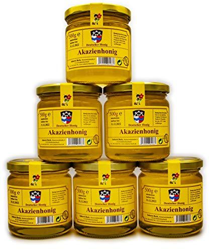 ImkereiBeck® 6 x 500g Echter Deutscher Imkerhonig im Vorteilspack/Geschenkset - Honig vom Imker aus Bayern / Akazienhonig 3000g