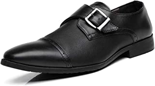 Dongxiong Simple and classic business Oxford official Koifu shoes leather buckle breathable popular British pointed shoes shoes (Color : Black, Size : 47 EU)