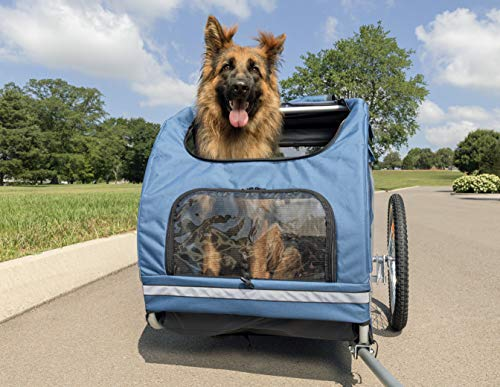 PetSafe Happy Ride Aluminum Dog Bicycle Trailer - Lightweight Durable Frame - Easy to Connect and Disconnect to Bikes - Includes Three Storage Pouches and Safety Tether - Collapsible to Store - Large